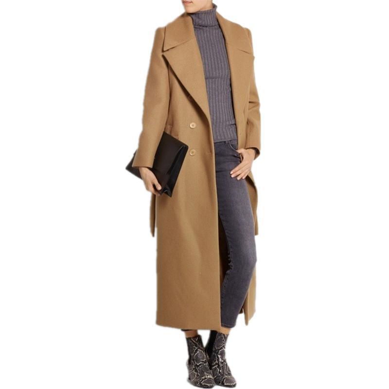 casaco Feminino 2020 tamanho UK mulheres mais Outono Inverno Cassic simples casaco de lã Maxi Longo Feminino Robe Casacos manteau femme CX200814