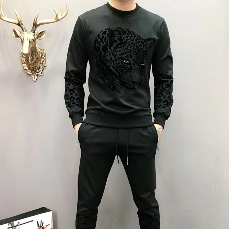 Survetement 옴므 2020 블랙 남성 세트 캐주얼 레오파드 헤드 동물 인쇄 된 남성 운동복 2 종 세트 운동복 바지 정장