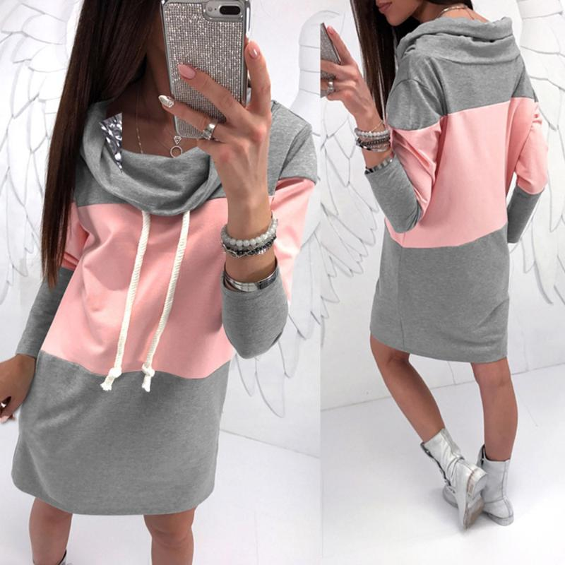 \fashion Woman Dress Above Knee Mini Sexy Pink and Gray Patchwork Loose Female Dress