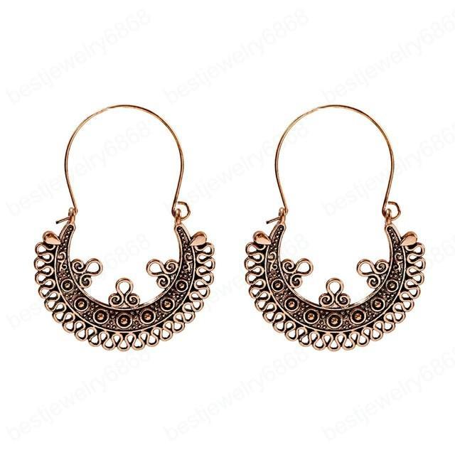 Semicírculo del color del oro de la flor cuelga los pendientes para las mujeres de la vendimia pendientes tallados Pendientes Etnici