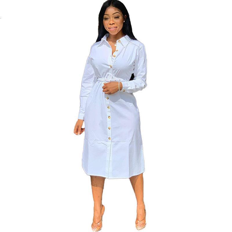 2020 Automne chemise blanche Dr femmes genou longueur boutonné à manches longues Maj Dr Bureau Lady lâche Tunique Casual Basic Dres