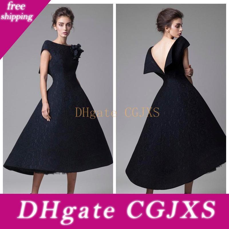 2018 Elegant Black Krikor Jabotian Prom Dress Evening Dresses Short Appliques Slim Abiye Dubai Caftan Muslim Party Gowns Modest