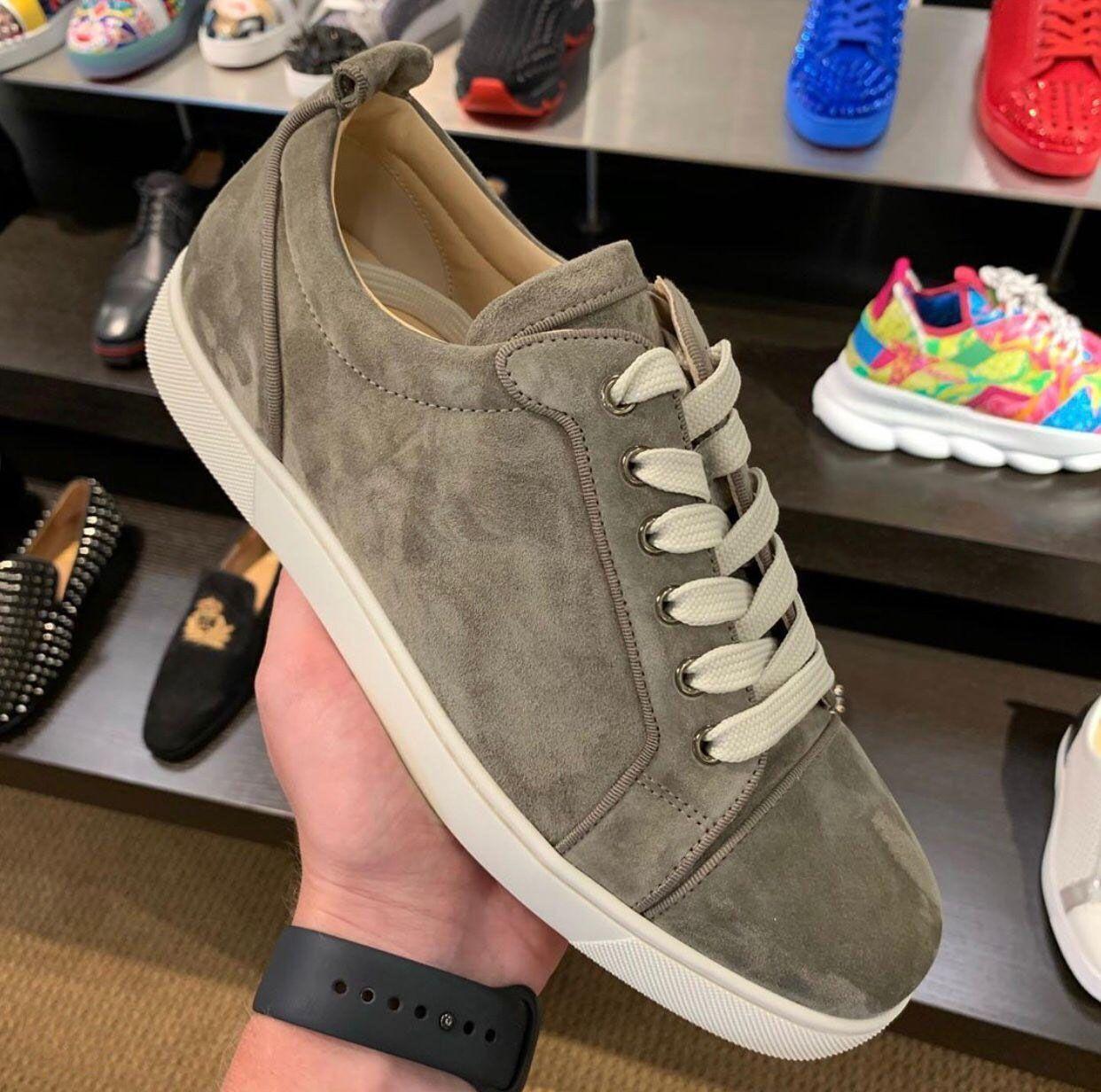 Top Suede sport en cuir pour homme Chaussures de Chaussures basses plates Coupe sans Spikes Rouge Chaussures Homme Bas de deux taille limitée Nom Brand Design