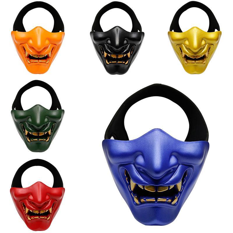 Хэллоуин Смех Prajna Tactical Mask COS Devil Horror Grimace взрослые мужчины и женщины Half Face Mask Birthday Party Mask Dropshipping F3101