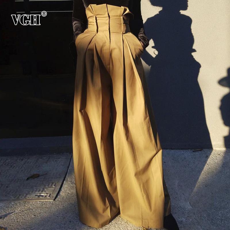 여성 패션 의류 CX200812를 들어 VGH 우아한 스트리트 스타일 여성 전체 길이 바지 높은 허리 느슨한 프릴 주름은 통바지
