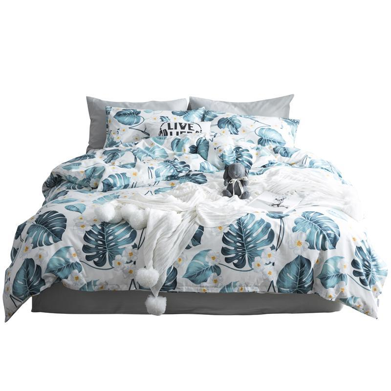 50 100% fixado algodão O folhas de edredon fronha da cama tampa 3pcs conjuntos de tamanho padrão rainha folha verde