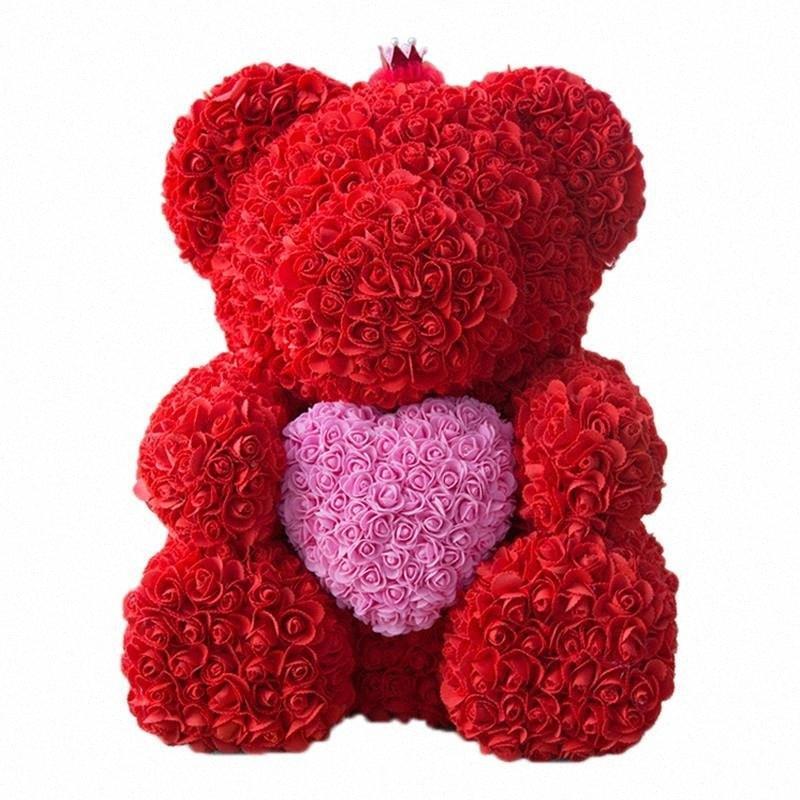 Kadınlar Sevgililer Hediye 2ywK # için Güller Yapay Çiçek Yılbaşı Hediye Of Sıcak Satış 25cm Oyuncak Ayı ile Taç In Hediye Kutusu Ayı