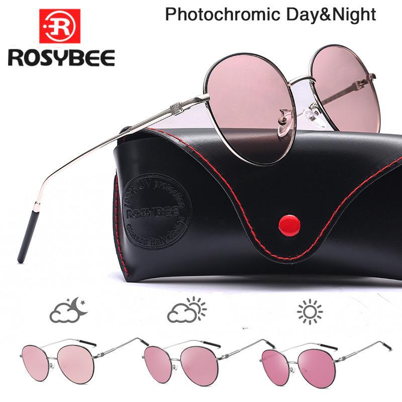 2020 mujeres de Nueva tecnología fotosensible Gafas de sol de Brown del rosa azul púrpura decoloración polarizadas conducción nocturna Glasse con la caja LJ200827