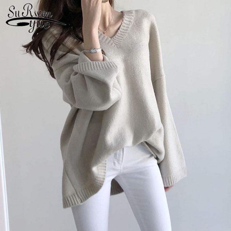 Plus Size V-Ausschnitt Pullover 2020 Herbst-Winter-Langarm Female Pullover Strick Fest Loose Women Strickpullover Pullover 11031