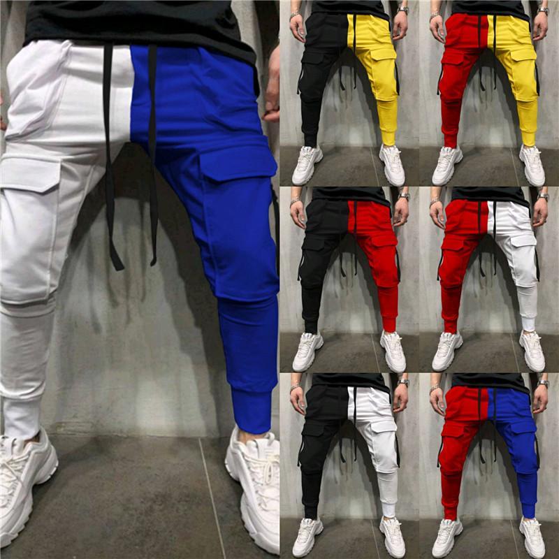 Contrast Color Mens Designer Pants Fashion Drawstring Pocket Patchwork Slim Pencil Pants Street Style Mens Sportswear