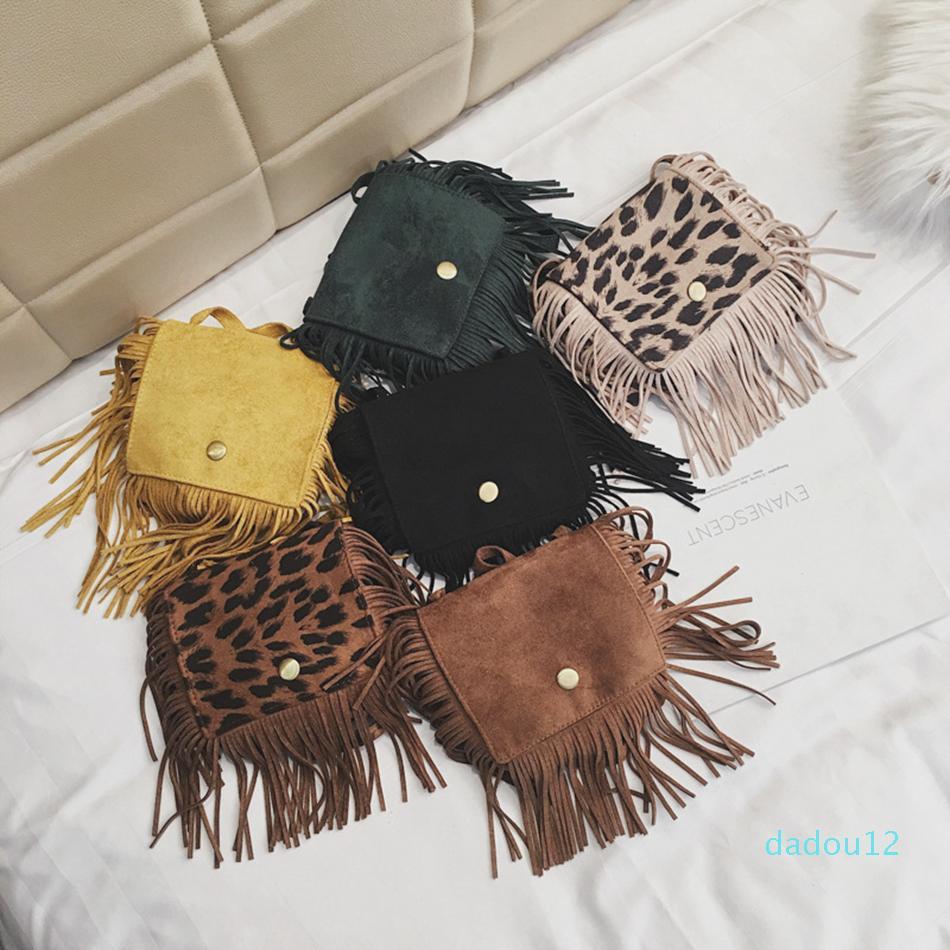Designer-bambino leopardo Fringe Messenger Bag delle ragazze dei capretti dei bambini della nappa Borsello Hippie nappa borsa delle borse favore di partito