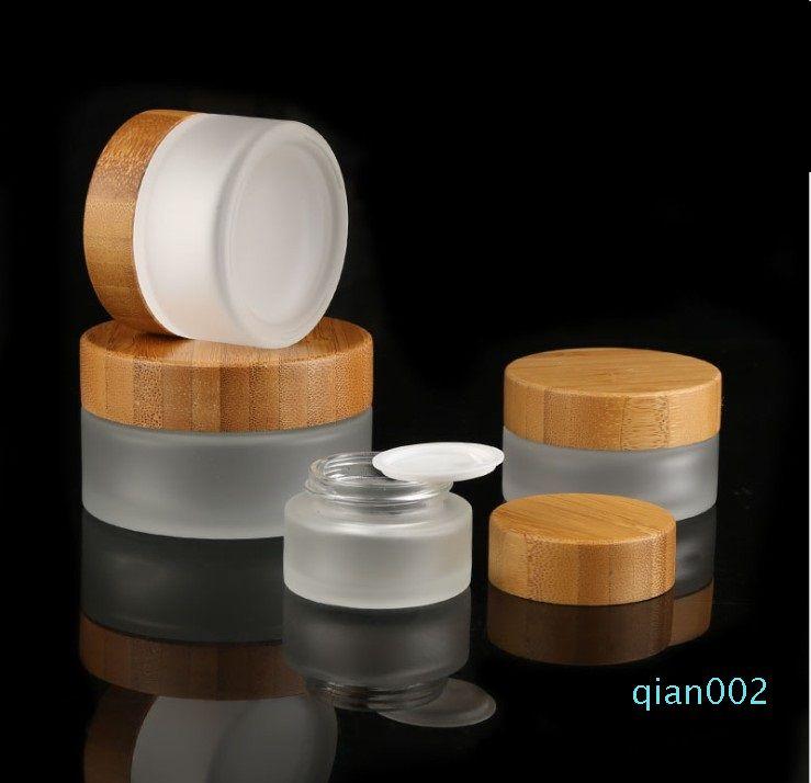 15g-30g-50g vidrio esmerilado Crema Botellas Tarro con bambú Cap Ronda tarros cosméticos cara de la mano Crema Botella PP interior Revestimientos de cubierta