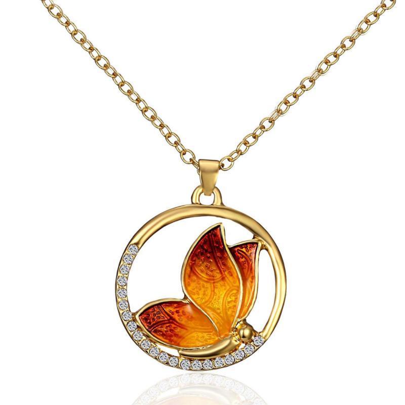 """8Seasons 2020 New Gold Farbe Schmetterling Halskette Tierkreis runde freie Rhinestone-Emaille 46cm (18 1/8"""" ) lang, 1 Stück"""