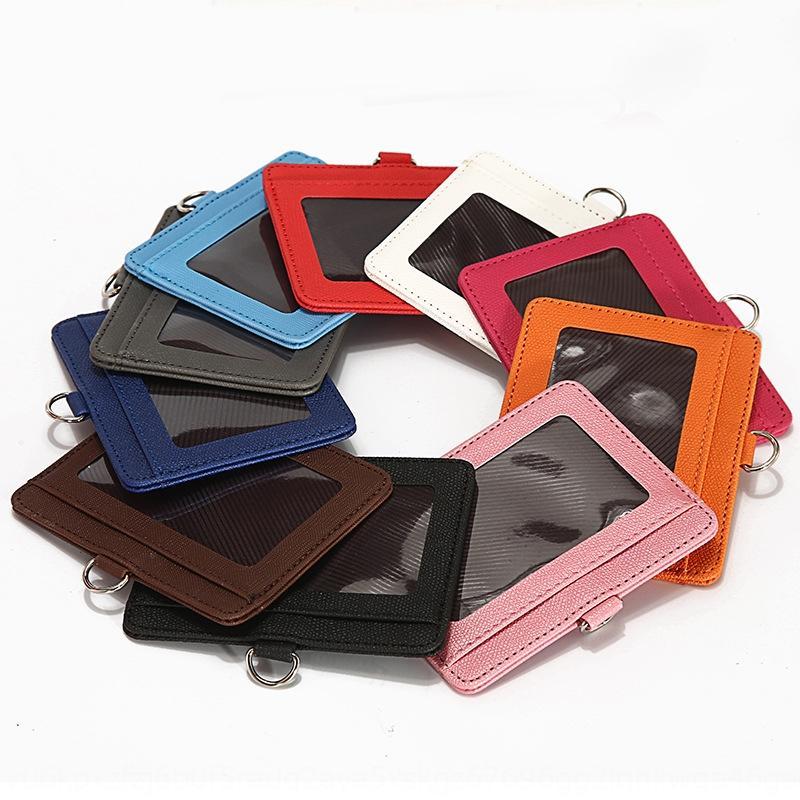 Jinbei double couche sac de carte de contrôle d'accès badge d'identité de couverture de couverture de sac en cuir carte à puce poitrine Longe usine de cuir Jinbei