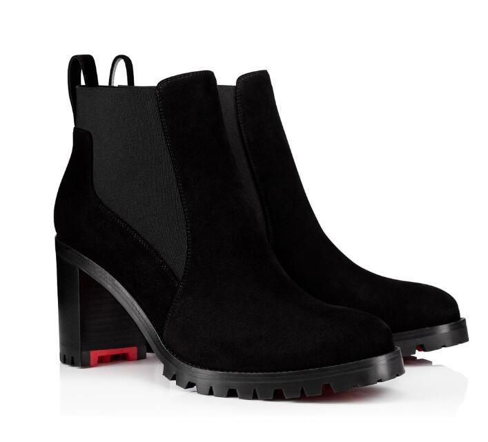 Осень и зима женщин Boots Luxury Кружевных Ботильоны для волочения Sole Marchacroche Коренастых каблуков Lady пинетка Открытой Свадьба