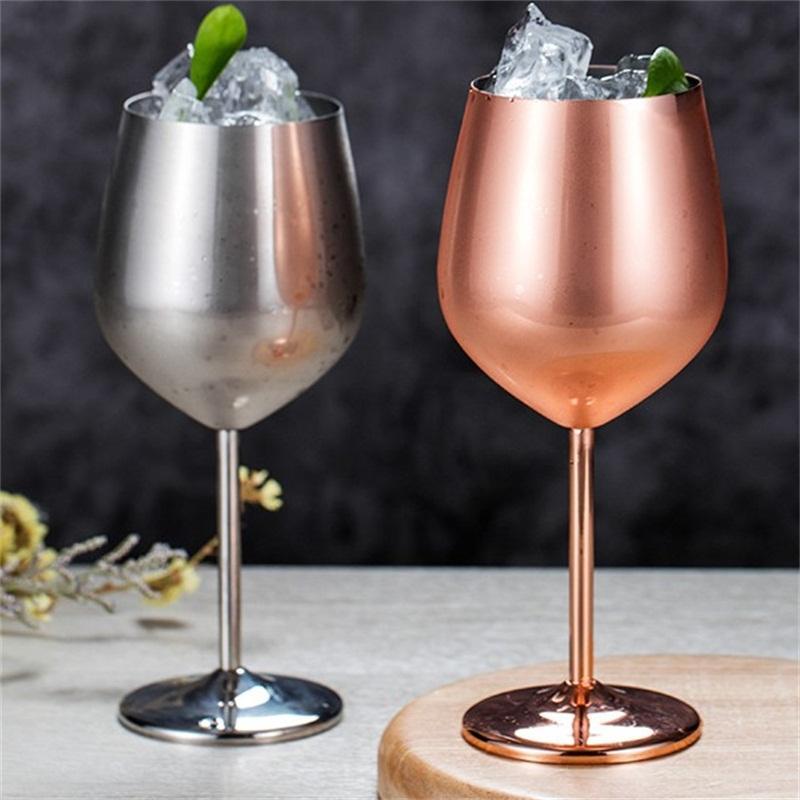 304 Taza de acero inoxidable vino tinto Dos Colores Copas de cóctel de champán Cristal Cocina Barra de oro rosa de color 22zy2 L1