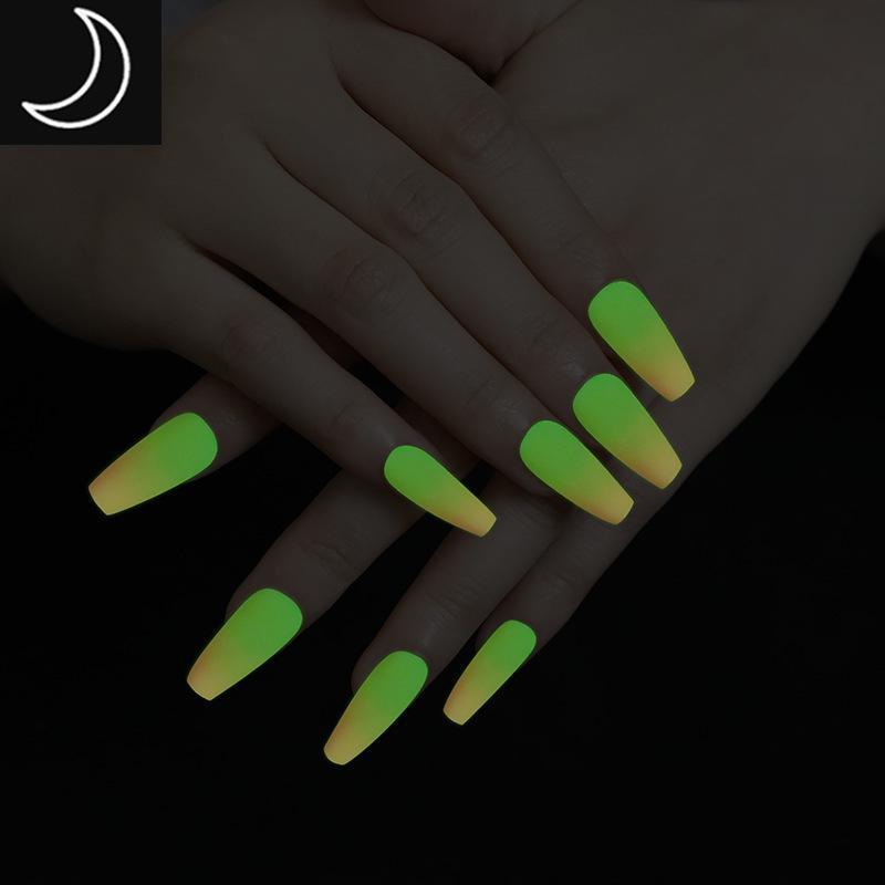 24pcs градиент цвета Noctilucence Поддельные Гвозди с клеем неон Fluorescent Ночной клуб Бар Vocal Concert носимого Ногти