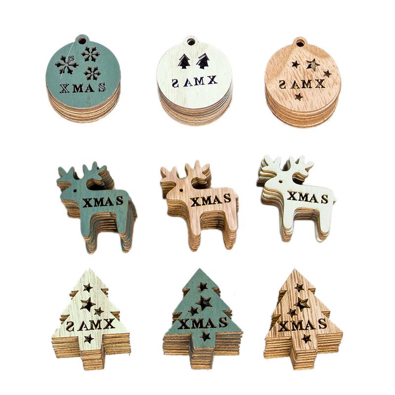 Decorazioni natalizie 72 pezzi Anno albero Gadget in legno Gadget in legno colorato disegno svuotando fai da te piccolo segno