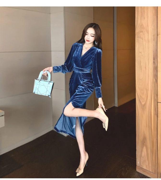 Korean style autumn temperament V-neck velvet slim long-sleeved slim dress