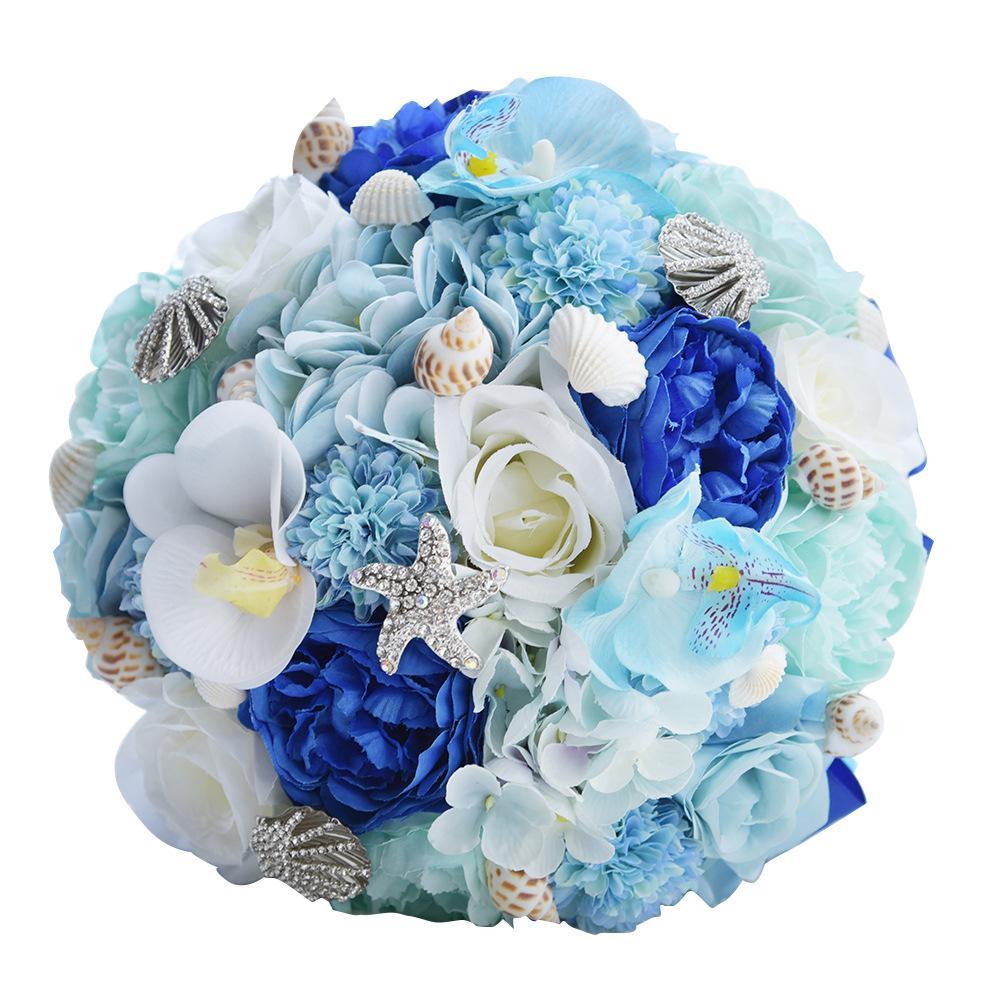 Einzigartige Hawaiian Blaue Brautsträuße Mit Conch Kristallstarfish Schöne handgemachte künstliche Blume für Hochzeit 2021 Hochzeit Zubehör