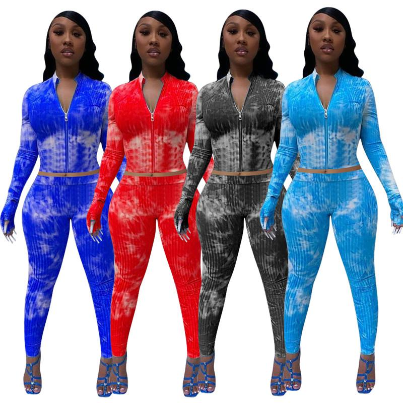 Femmes Automne Vêtements d'hiver Ensemble 2 pièces Veste de sport + pantalon à manches longues Jogger Costume Tenues Zipper Fashion Tie Dye Survêtement 3721