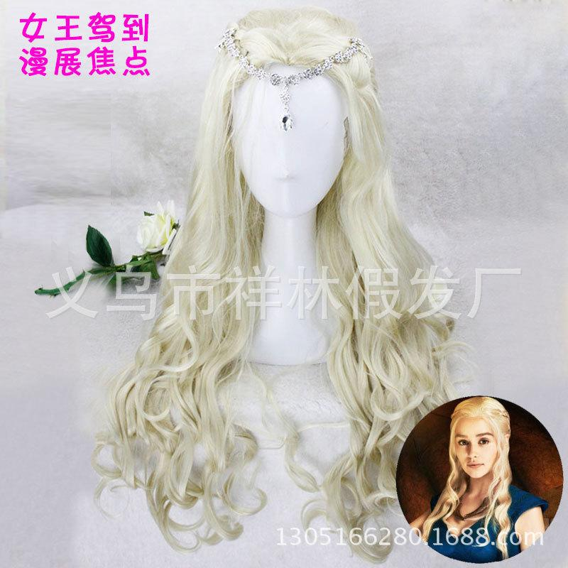 European style silver-white long curly hair, court COS wig, queen princess, braided aristocratic wig