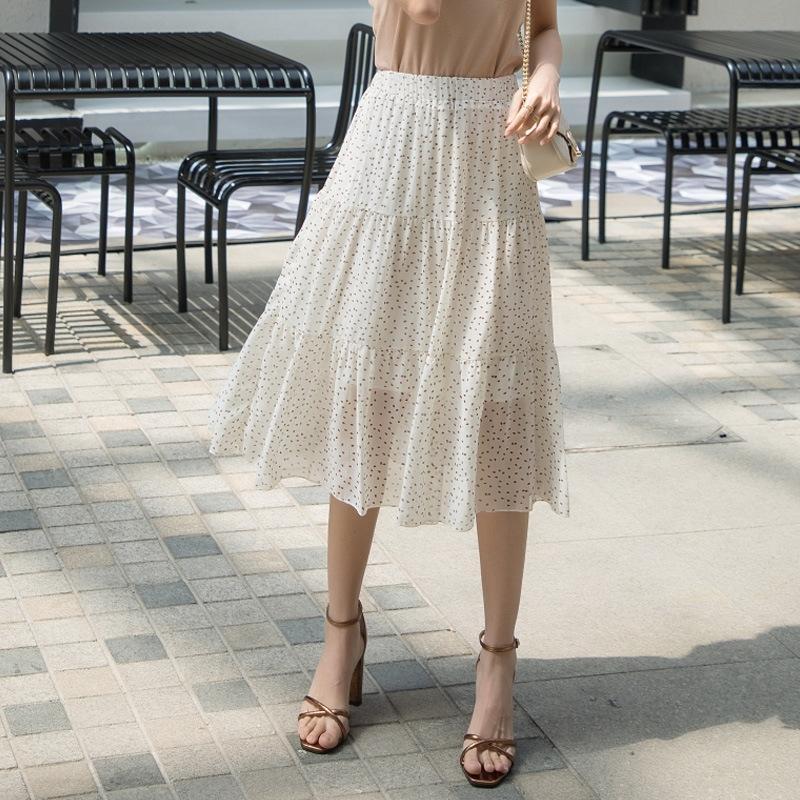 longo de fadas saia floral 2020 Verão novo estilo coreano A- LINHA Chiffon chiffon das mulheres saia de cintura alta grande oscilação vestido linha A-