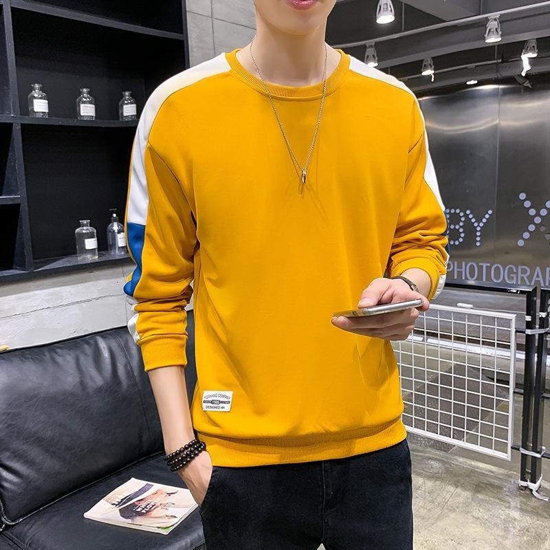 stile coreano moda 2019 di base superiore di autunno maglietta di modo sNkTL uomo tutto-fiammifero lungo t-shirt manica maglione maglione uomini