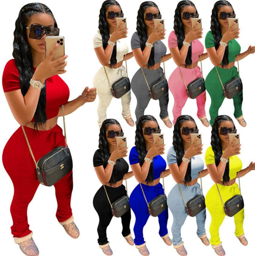 Les femmes en tête de récolte pantalon froncé 2pcs solide ensemble de couleurs leggings T-shirt manches courtes-3XL Collants Costumes d'été vêtements d'automne DHL 3639