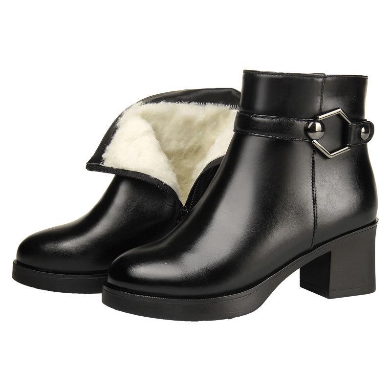 Lã completa couro completo Uma pele morno neve Botas Botas Mulheres Moda elegante couro genuíno sapatos de mulher do salto alto