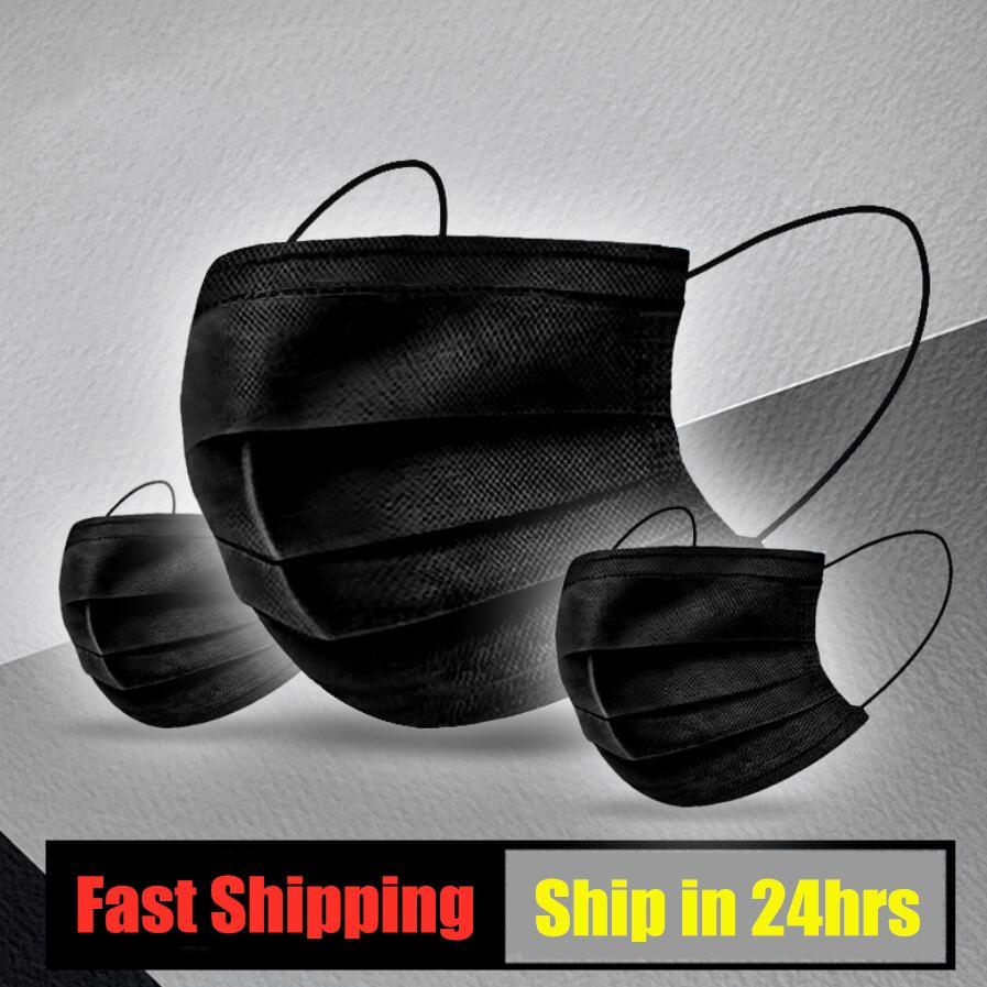 Masques à usage unique visage noir noir masques anti-poussière masque bouche anti pollution dans les masques jetables de la bouche de coton Masque non-tissé