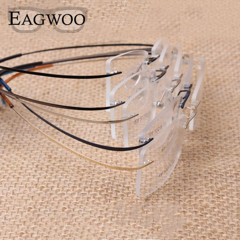 Titânio puro óculos sem aro flexível Prescription Optical Frame Spectacle Frameless Glasses Eye glasses 010 Linha Temple T200812