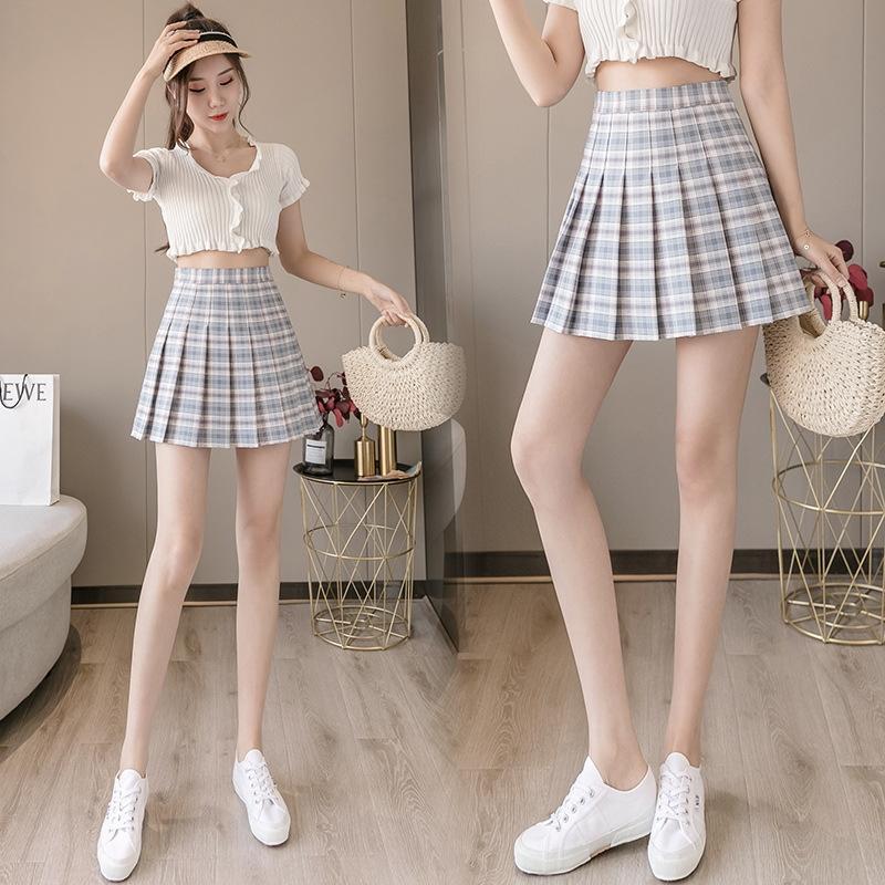 2020 estate nuova coreana alto stile della vita delle donne A- LINE s pieghe gonna a pieghe dimagrante fresco del tutto-fiammifero linea Plaid A- gonna Oj5B2