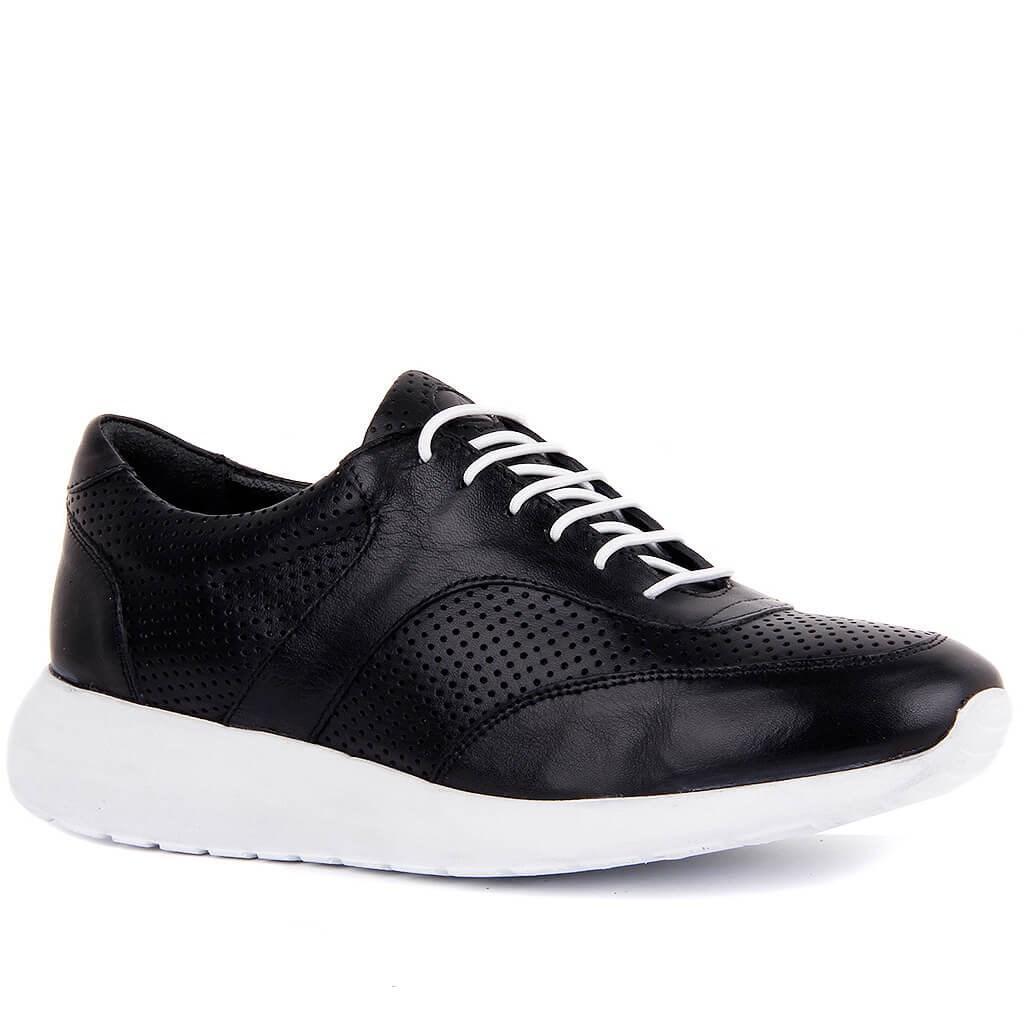 Sail-Lakers preto de couro Mulheres Casual Shoes