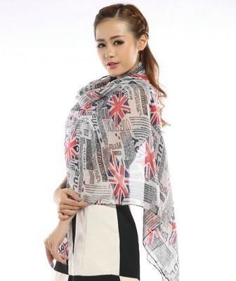 2020 Comercio al por mayor de la nueva manera Periódico Unión Jack Reino Unido Inglés indicador de impresión viscosa bufanda de algodón gasa Bali Hilados bufanda del abrigo del mantón