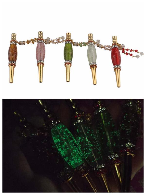 Luminous Handmade Metal Hookah Mouthpiece Mouth Tips Arab Noctilucent Drip Tip Shisha Mouth piece Inlaid Jewelry Diamond Smoking Pipe