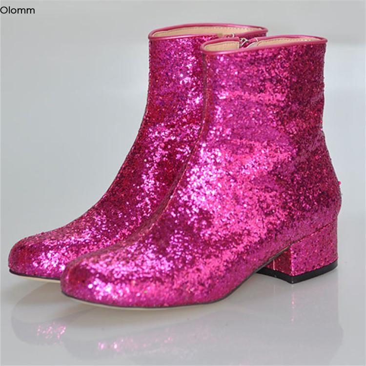 Zapatos del partido Talones Olomm mujeres las botas del tobillo del brillo Confort Plaza Los cargadores bajos punta redonda fucsia magnífico mujeres de talla Plus de EE.UU. 5-15