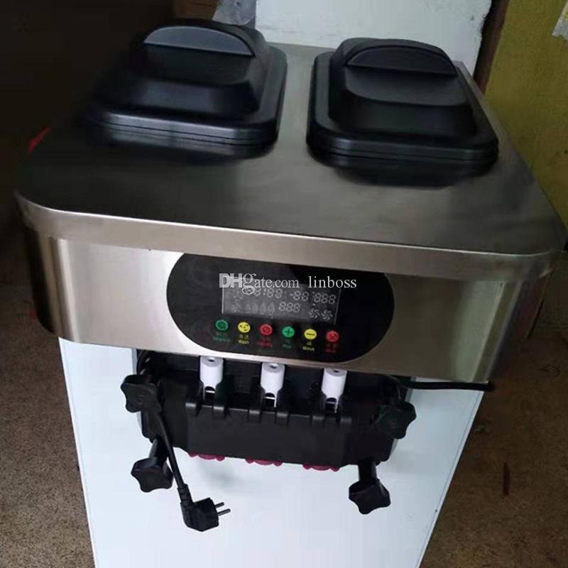 Nuevo diseño de escritorio fabricante de helados 2 + 1 mixta sabores máquina de helados vendedor caliente de la energía de tres sabor frío ahorro de máquina de bebidas
