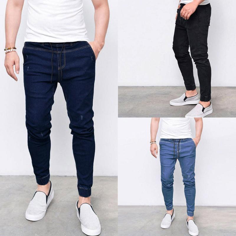Мужские Прохладный дизайнерская бренд Black Jeans Кожа да кости рваного разрушаемого Stretch Slim Fit Hop Hop Брюки с отверстиями для мужчин