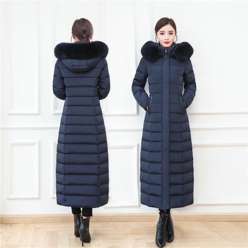 удлиненная пуховик женщины пальто зимы белая утка вниз ветровки мех с капюшоном теплого верхней одеждой пальто плюс размером S-4XL