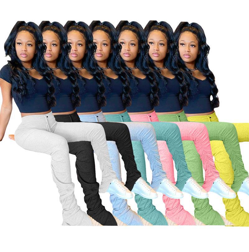 7 색상 XS-XXL 여성 높은 허리 플레어 넓은 다리 바지 벨 아래 여성 캐주얼 긴 바지 616567576229
