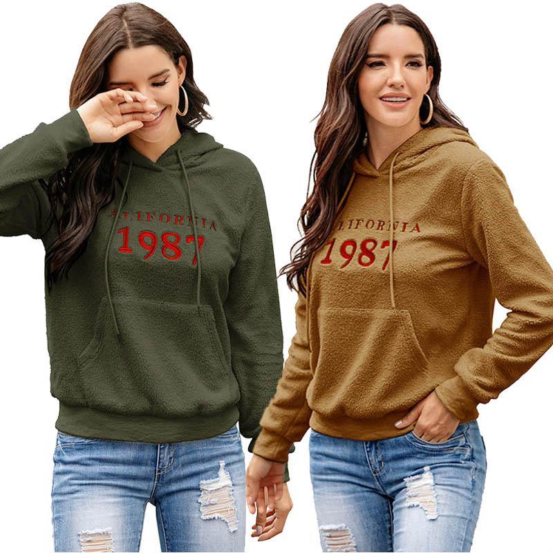 Women Hoodies Letter Embroidery Pullover Sweatshirts Ladies Long Sleeve Hooded Tops Winter Cashmere Hoodies Female Sweatshirt 050811