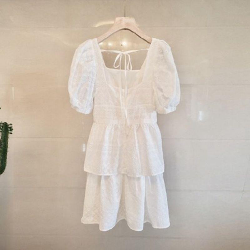 06t1A 2020 umsäumen neues Französisch Mittellanges Quadrat Palace Sommerkleid Kragen langer Stil reines Kleides kurze süße Blase Hülse für Frauen