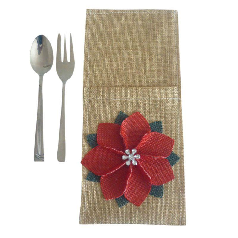 Vajilla de Navidad bolso de la cubierta del patrón de flor de Navidad Cena Vajilla bolsa del regalo del cabrito y linda Decoración Adornos