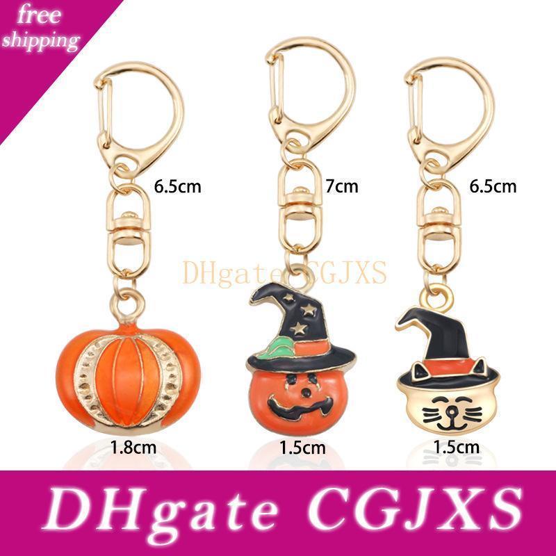 Kostenloser Versand New Metal Kürbis Keychain magische Hut-Katze-Kopf-Schlüsselringe für Halloween Geschenke Wb842
