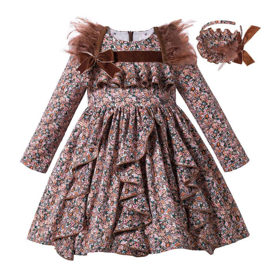 Pettigirl Brown Girl Winter Dress Feather Flower Girl Dresses Ruched Vintage Dress Long Sleeves Autumn Dress For Kids G-DMGD306-A558
