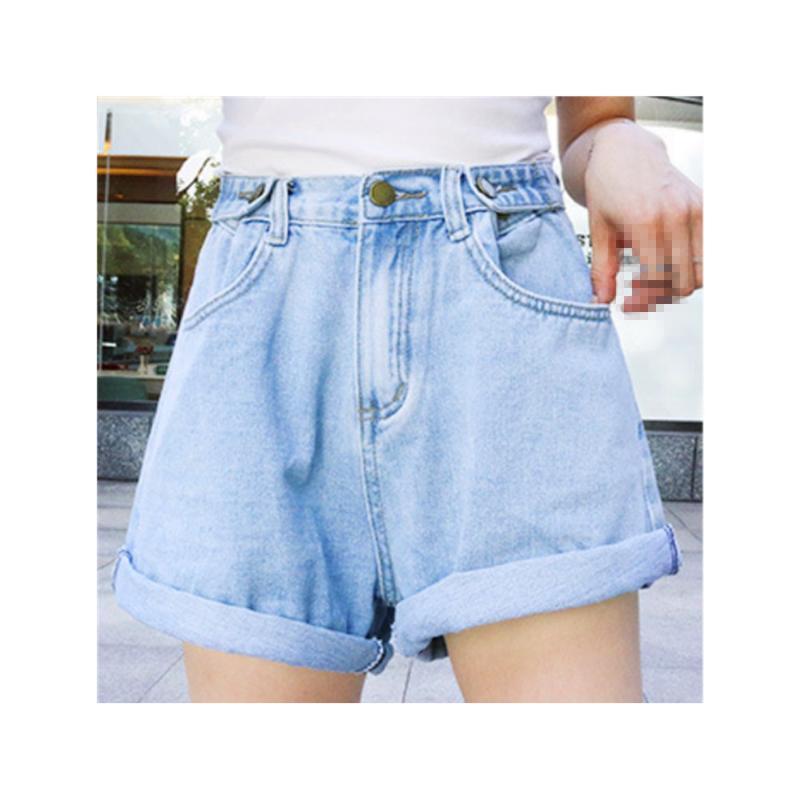 Frauen Jeans Shorts Hohe Taille Lose hellfarbene koreanische Version des war dünnes Denim-weibliches breites Bein mit schwarzem und w