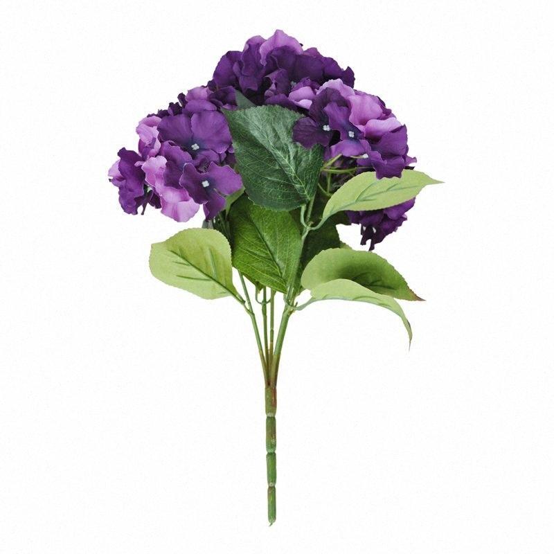 "Artificial Hydrangea Flower 5 Big Heads Bouquet (diâmetro 7"" cada cabeça) lxab Purple #"