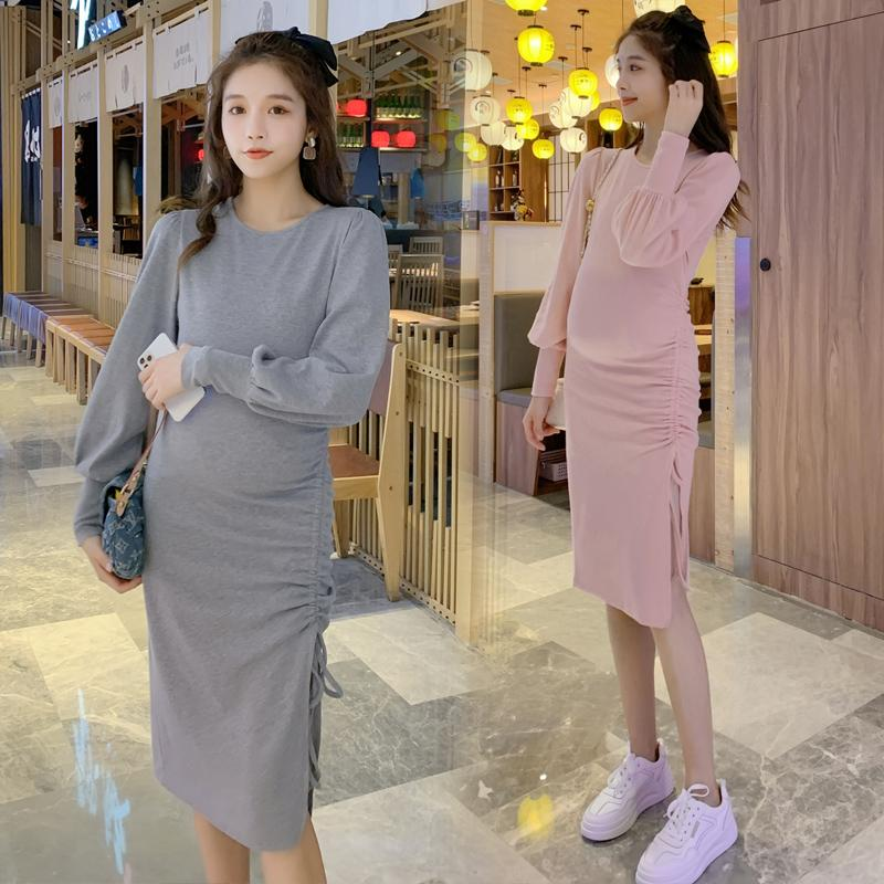 # 847 ropa de maternidad del otoño del resorte de manga larga vestido de Split Fácil Coincidencia flojo para las mujeres embarazadas vestido de mamá