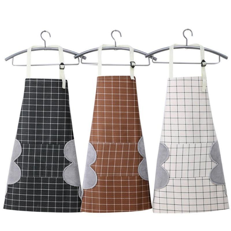 Waterproof Aventais Mulheres Avental bonito dos desenhos animados com o Pocket Chef Cozinha Cozinhar Cotton Oil-Proof impermeáveis Stripes wipeable manta